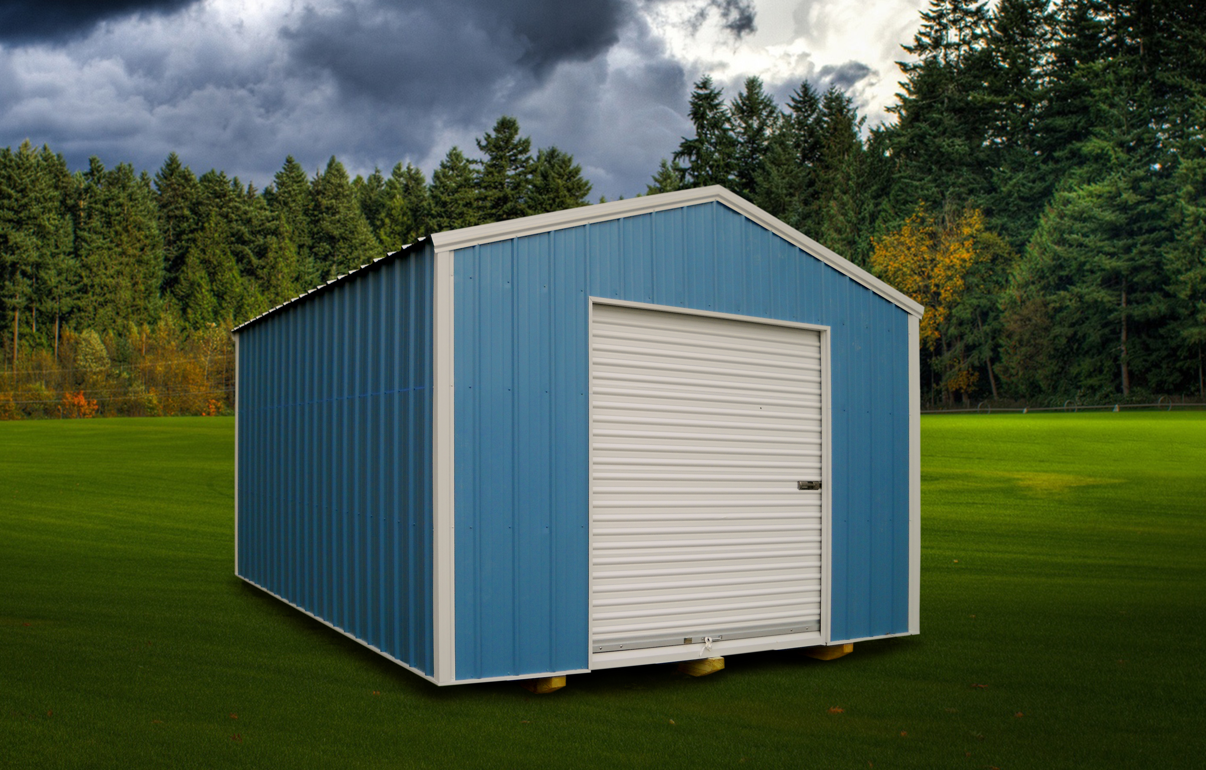 Customized economy storage shed with blue color and white trim detail positioned in residential backyard under dark sky