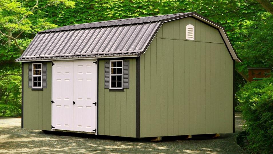 green painted garden shed
