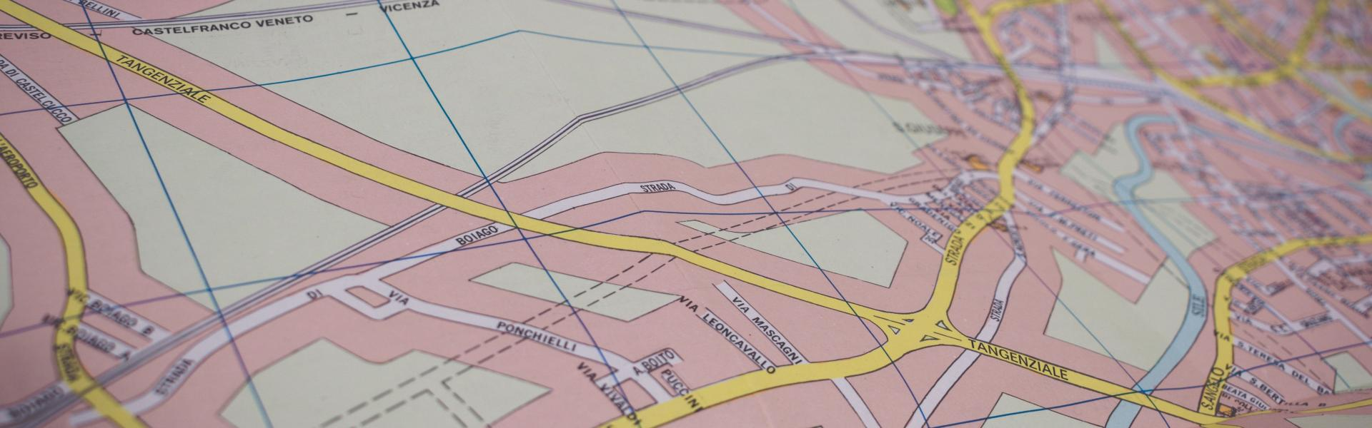 Overhead map view with roads