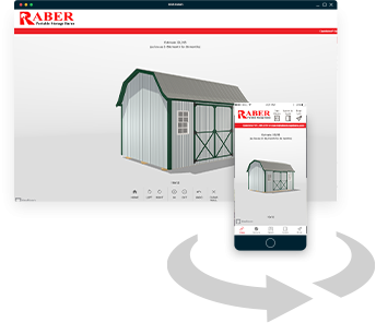 Design the lofted garden shed that suits your needs with Raber's mobile application for your smartphone