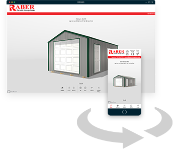 Design your own portable storage building with Raber's 3D modeling app for mobile