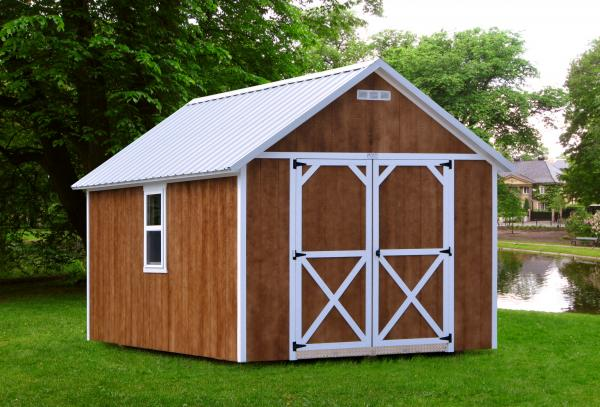 Pocahontas Shed with custom windows and door.
