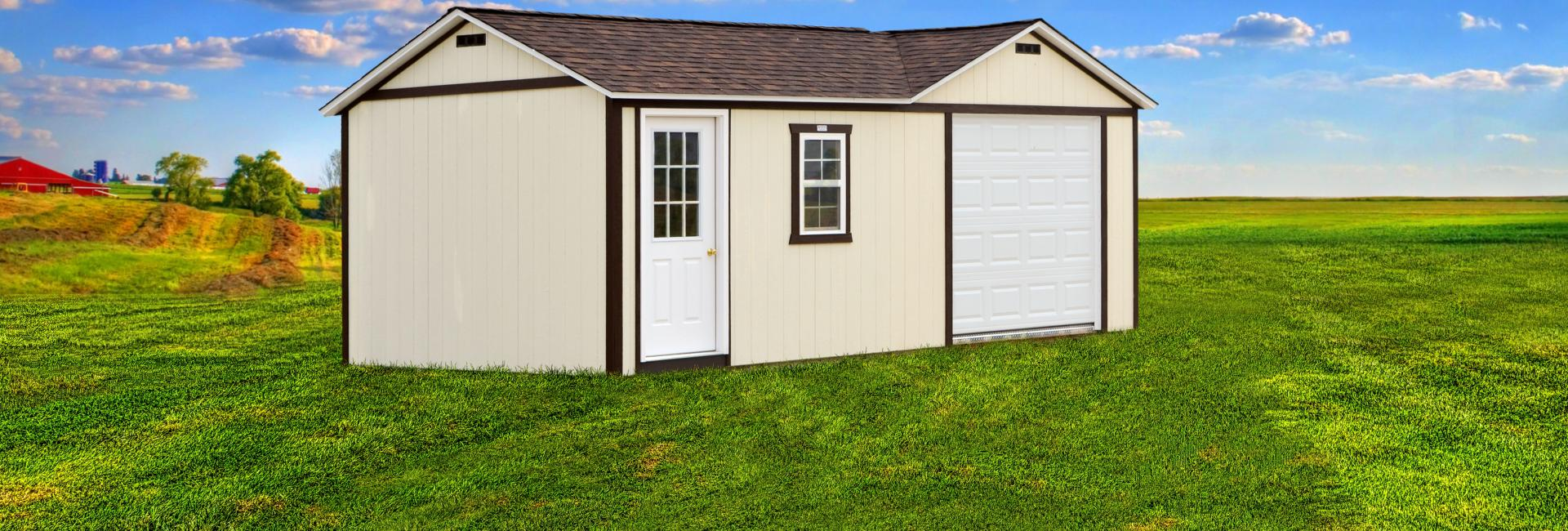 White garage combo shed with brown trim and shingle roof