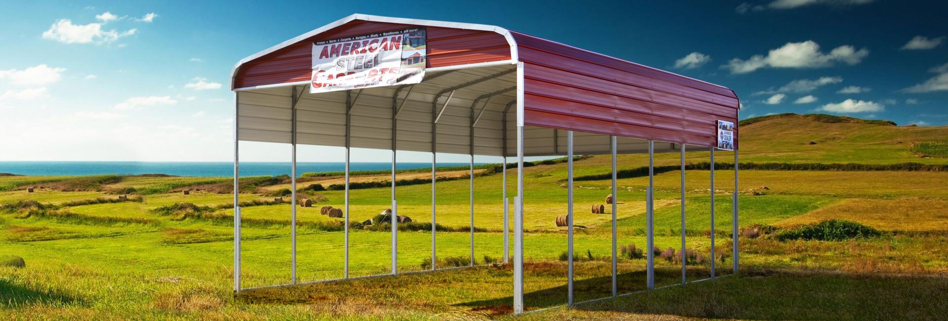 Steel carport with red roof in a scenic landscape