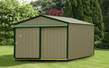 Raber's portable standard metal storage shed in brown with green trim and sliding double door in landscaped backyard
