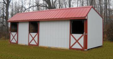 3 Stall Horse Barn in white with red roof and trim