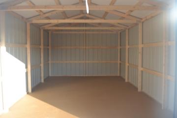 An interior perspective of a standard metal portable shed from Raber's