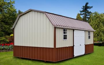 Bi-colored portable garden shed in tan and brown with double front windows and doors placed in manicured backyard