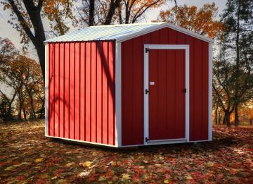 Red on white detailed economy storage shed placed in a residential backyard during autumn