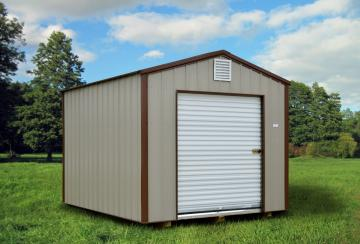 Roll door option for a Raber portable storage shed in brown with dark brown trim detail