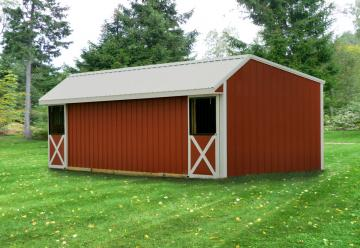 2 stall horse barn with white trim