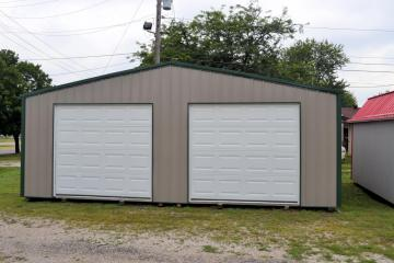 Gray two door garage