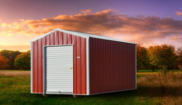 Red on white economy shed unit featuring standard roll door in grade metal