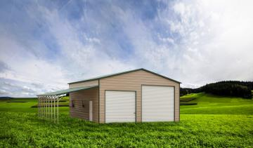 Tan and green enclosed garage with lean to